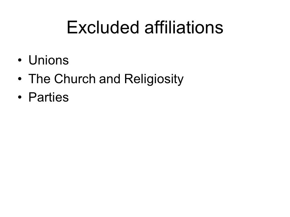 Excluded affiliations Unions The Church and Religiosity Parties