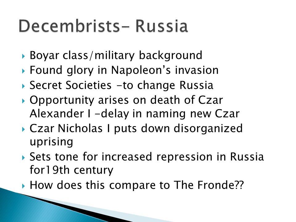  Bourbon dynasty restored  Ferdinand VII tore up constitutional reforms of 1812 ( under Napoleon); dissolves Cortes.