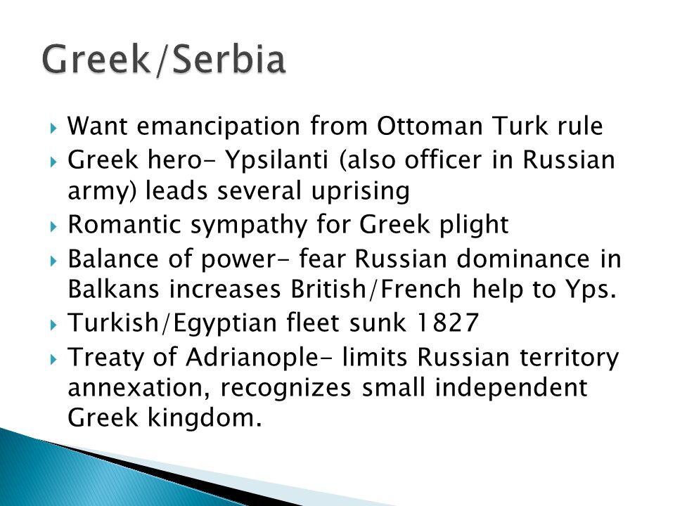  Decembrists- unsuccessful  Spain/Portugal-unsuccessful  Greeks/ Serbia- Successful