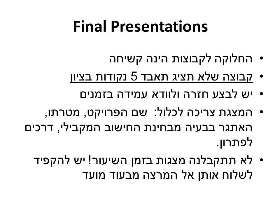 Final Presentations החלוקה לקבוצות הינה קשיחה קבוצה שלא תציג תאבד 5 נקודות בציון יש לבצע חזרה ולוודא עמידה בזמנים המצגת צריכה לכלול : שם הפרויקט, מטרת