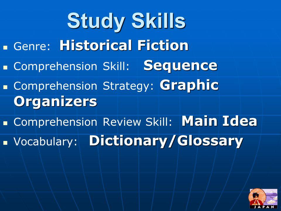 Study Skills Historical Fiction Genre: Historical Fiction Sequence Comprehension Skill: Sequence Graphic Organizers Comprehension Strategy: Graphic Organizers Main Idea Comprehension Review Skill: Main Idea Dictionary/Glossary Vocabulary: Dictionary/Glossary