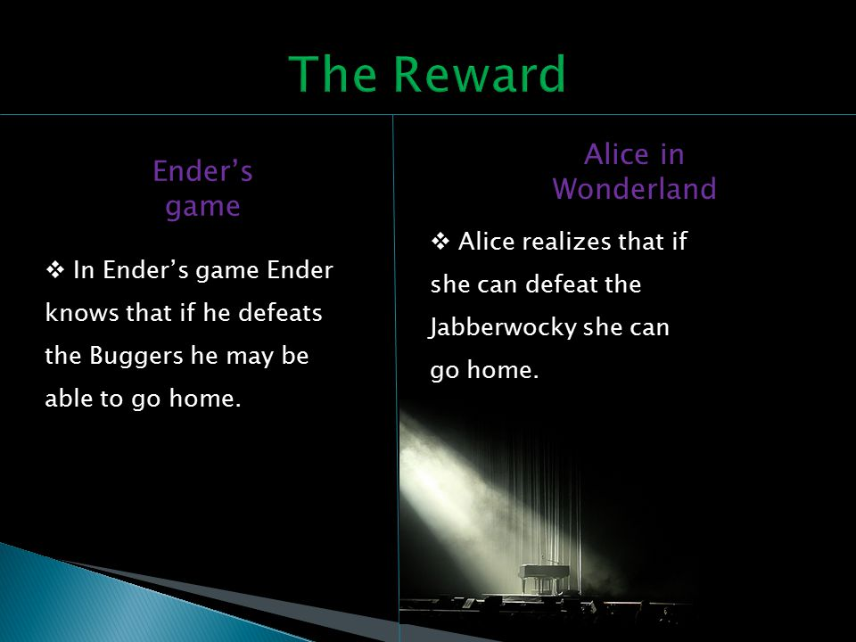 Ender's game Alice in Wonderland  Alice realizes that if she can defeat the Jabberwocky she can go home.