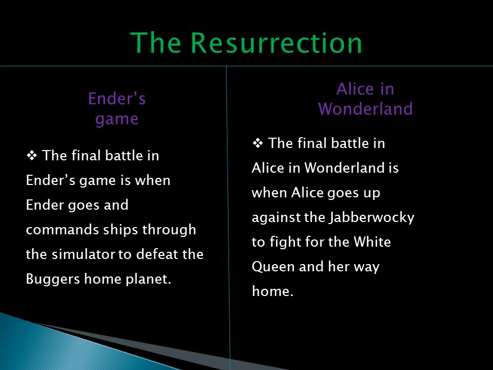Ender's game Alice in Wonderland  The final battle in Ender's game is when Ender goes and commands ships through the simulator to defeat the Buggers home planet.