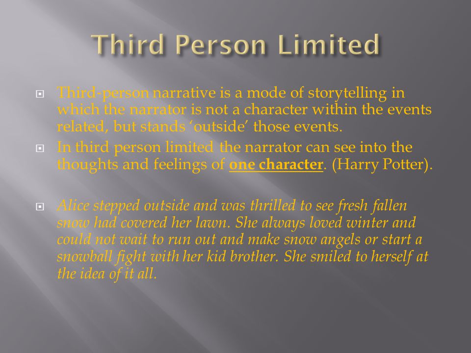  The narrator can see into the thoughts and feelings of all the characters (all-knowing).