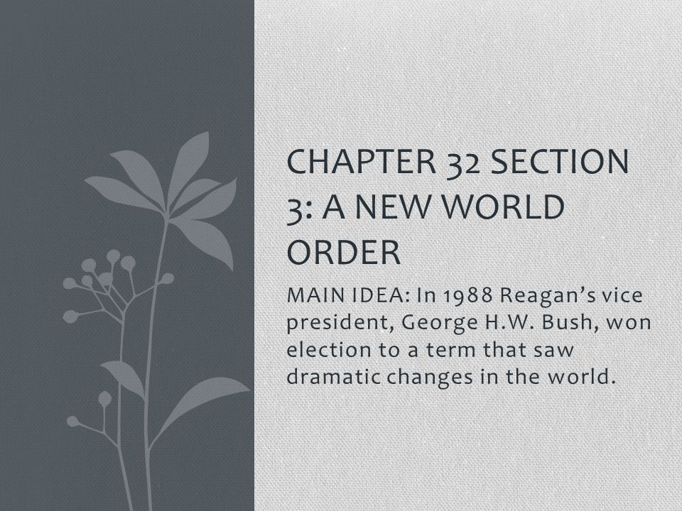 MAIN IDEA: In 1988 Reagan's vice president, George H.W. Bush, won election to a term that saw dramatic changes in the world. CHAPTER 32 SECTION 3: A N