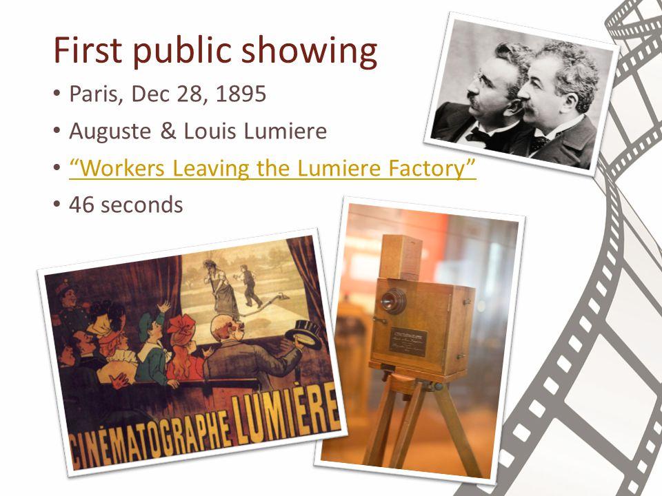 First public showing Paris, Dec 28, 1895 Auguste & Louis Lumiere Workers Leaving the Lumiere Factory 46 seconds