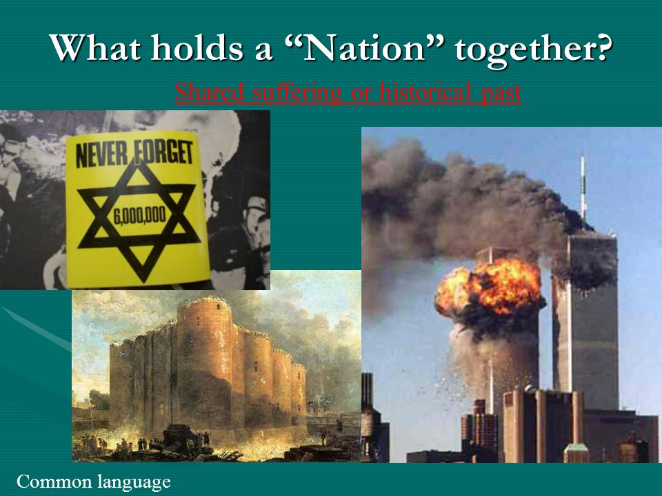 What holds a Nation together? Common language Shared suffering or historical past