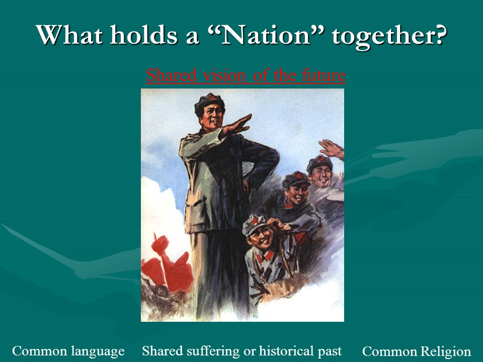 Types of Nationalism CharacteristicsExamples Unification Separation State- Building Types of Nationalism Bringing together culturally similar people who are separated by political borders -19th Century Italy and Germany Culturally different people who resist being added to a state -Greeks in the Ottoman Empire -French Canadians Culturally different people that want to join together and form a new culture and state -The U.S.