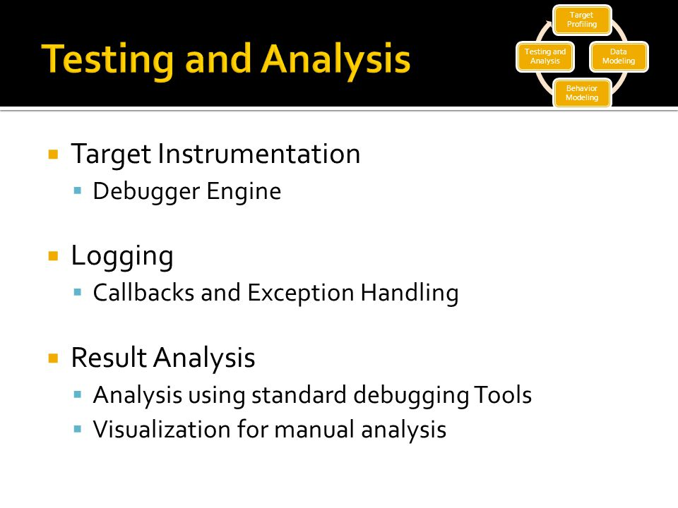  Target Instrumentation  Debugger Engine  Logging  Callbacks and Exception Handling  Result Analysis  Analysis using standard debugging Tools  Visualization for manual analysis Target Profiling Data Modeling Behavior Modeling Testing and Analysis