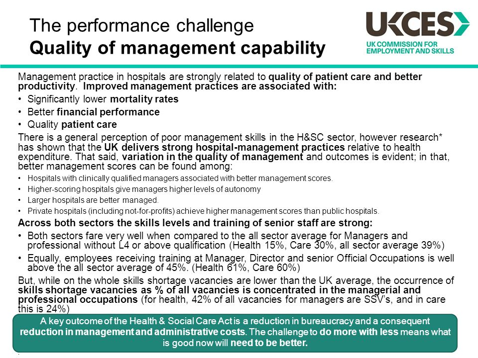 The performance challenge Quality of management capability Management practice in hospitals are strongly related to quality of patient care and better