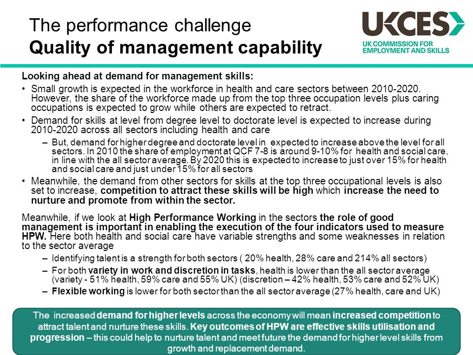 The performance challenge Quality of management capability Looking ahead at demand for management skills: Small growth is expected in the workforce in