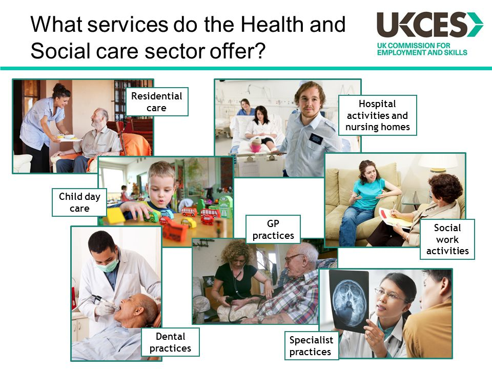 What services do the Health and Social care sector offer? Hospital activities and nursing homes Residential care Child day care Dental practices GP pr