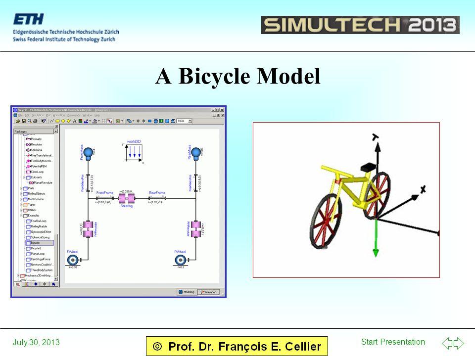 Start Presentation July 30, 2013 A Bicycle Model
