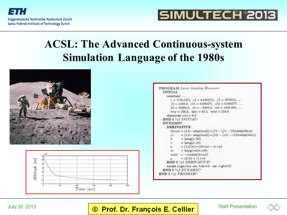 Start Presentation July 30, 2013 ACSL: The Advanced Continuous-system Simulation Language of the 1980s
