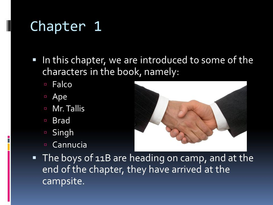 Chapter 1  In this chapter, we are introduced to some of the characters in the book, namely:  Falco  Ape  Mr.