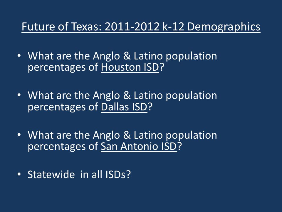 HISD 2011-2012 k-12 Demographic What are the Anglo & Latino population percentages of Houston ISD.