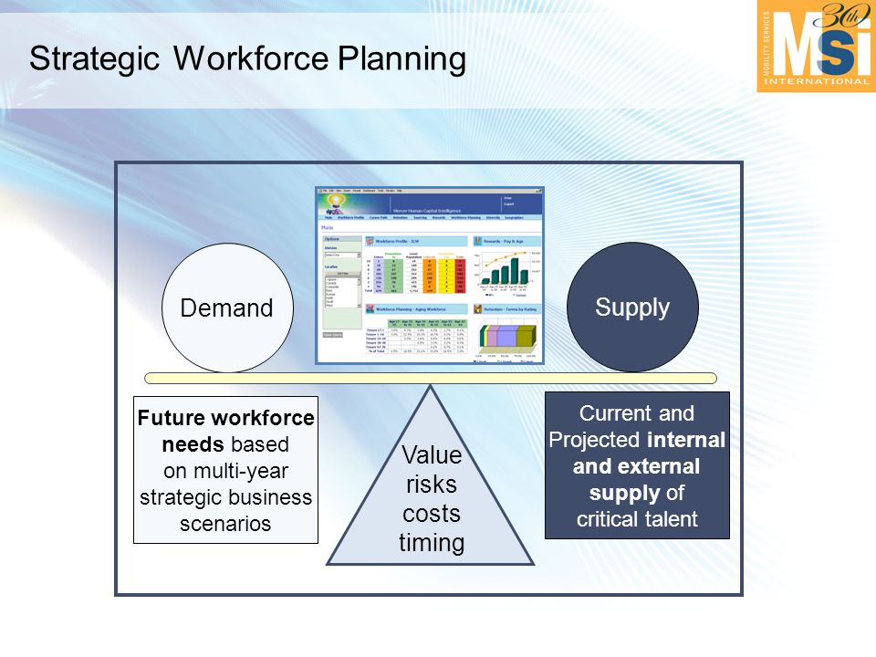 Future workforce needs based on multi-year strategic business scenarios Current and Projected internal and external supply of critical talent Supply Demand Value risks costs timing Strategic Workforce Planning