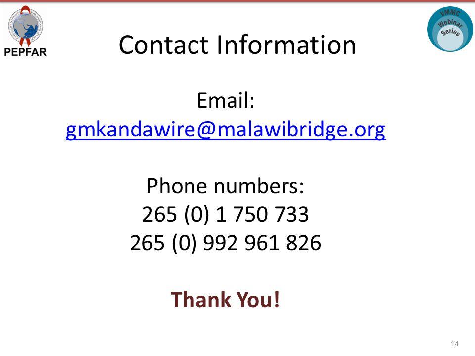 Email: gmkandawire@malawibridge.org gmkandawire@malawibridge.org Phone numbers: 265 (0) 1 750 733 265 (0) 992 961 826 Thank You.