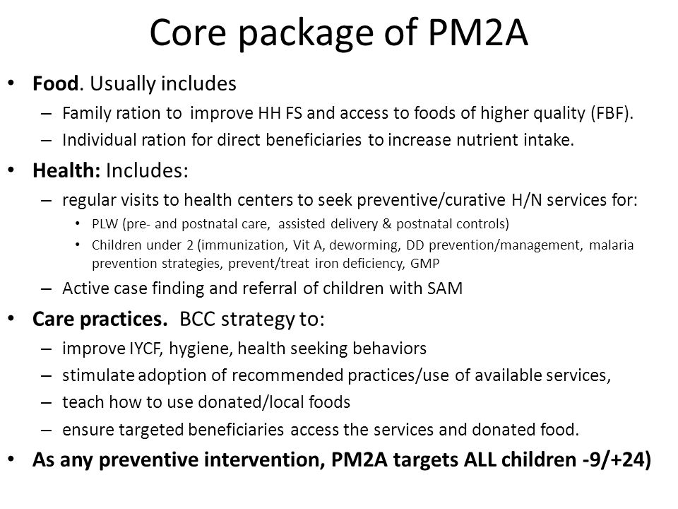 Core package of PM2A Food.