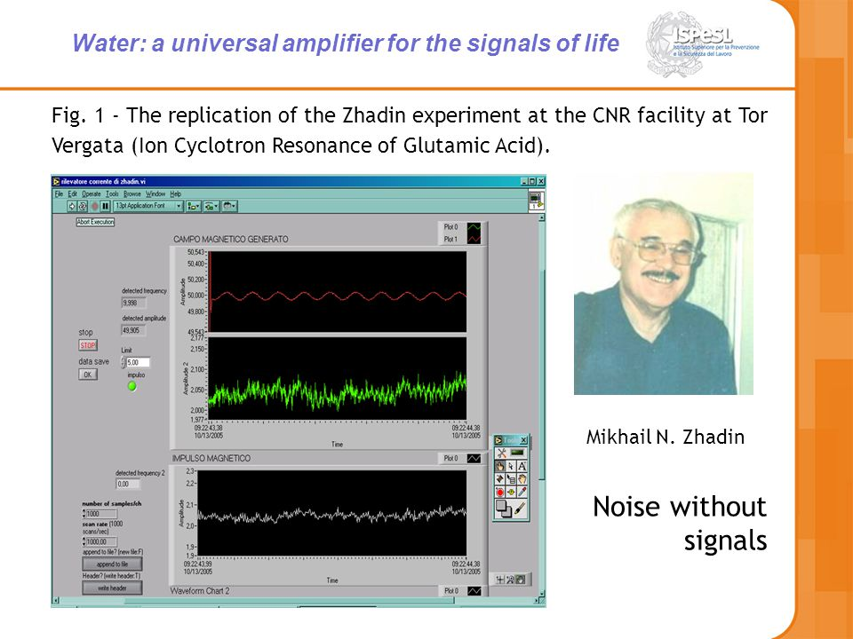 Fig. 1 - The replication of the Zhadin experiment at the CNR facility at Tor Vergata (Ion Cyclotron Resonance of Glutamic Acid). Mikhail N. Zhadin Noi