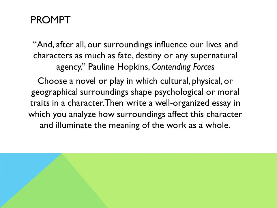 PROMPT And, after all, our surroundings influence our lives and characters as much as fate, destiny or any supernatural agency. Pauline Hopkins, Contending Forces Choose a novel or play in which cultural, physical, or geographical surroundings shape psychological or moral traits in a character.