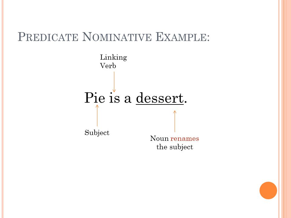 P REDICATE N OMINATIVE E XAMPLE : Pie is a dessert. Linking Verb Subject Noun renames the subject