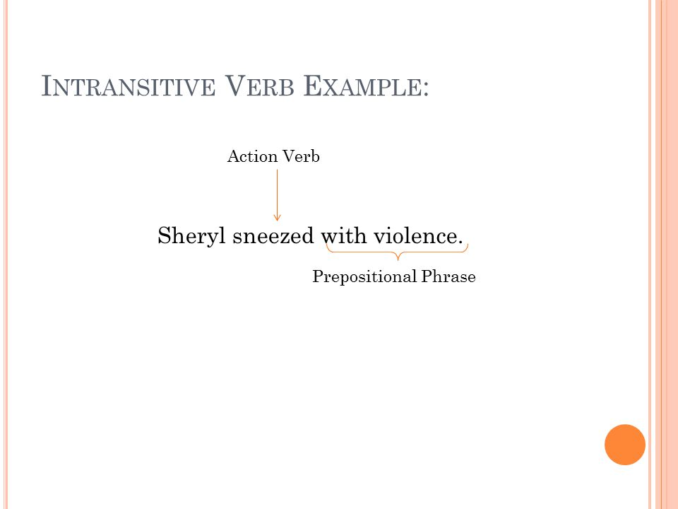 I NTRANSITIVE V ERB E XAMPLE : Sheryl sneezed with violence. Action Verb Prepositional Phrase