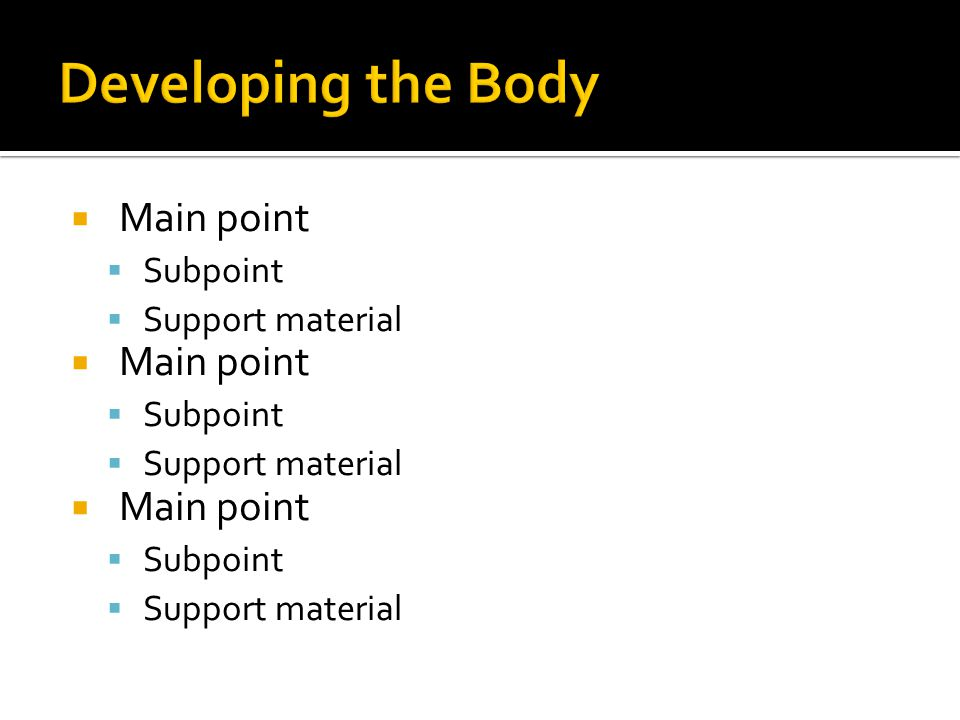  Main point  Subpoint  Support material  Main point  Subpoint  Support material  Main point  Subpoint  Support material