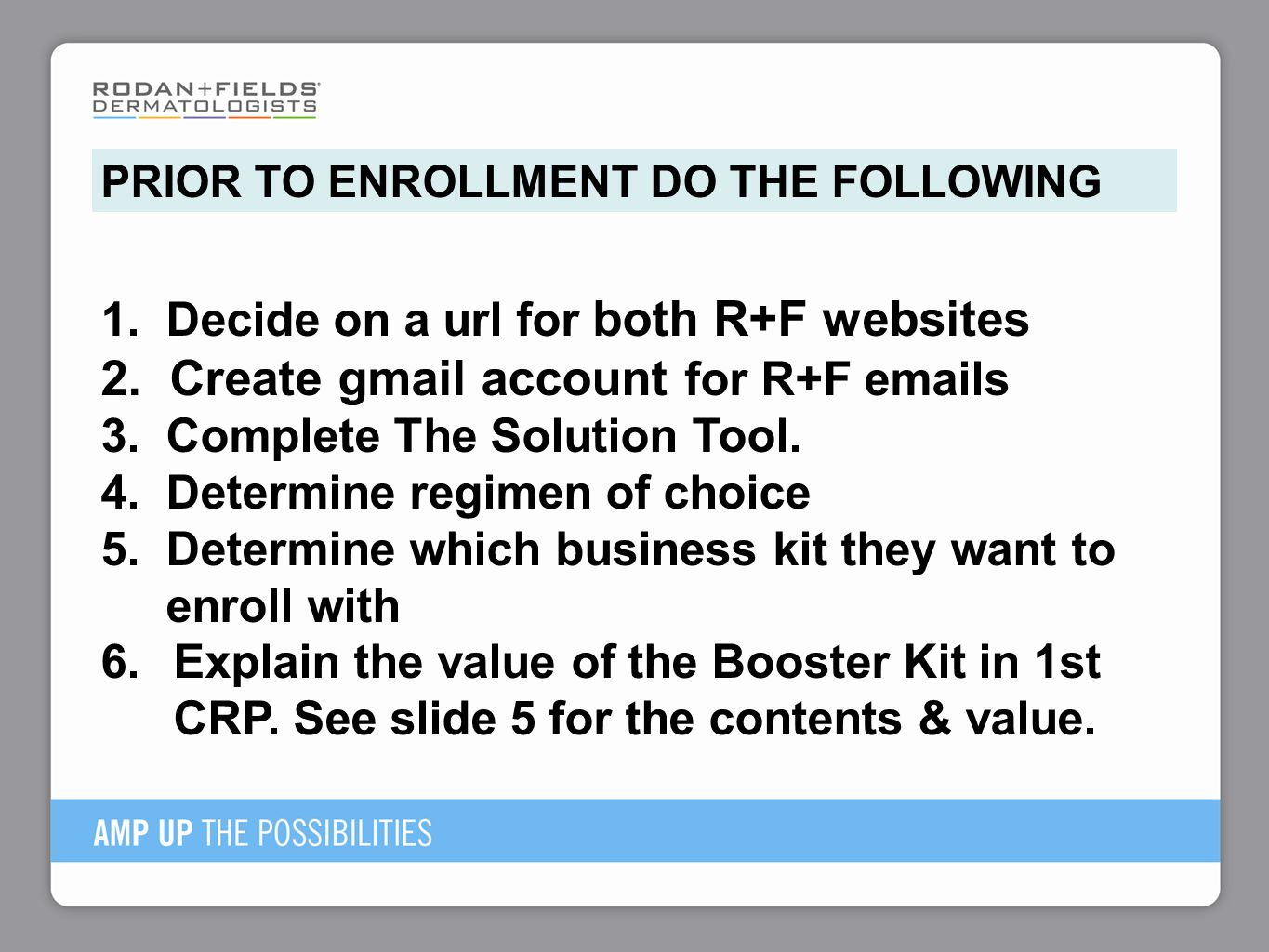 1. Decide on a url for both R+F websites 2. Create gmail account for R+F emails 3. Complete The Solution Tool. 4. Determine regimen of choice 5. Deter