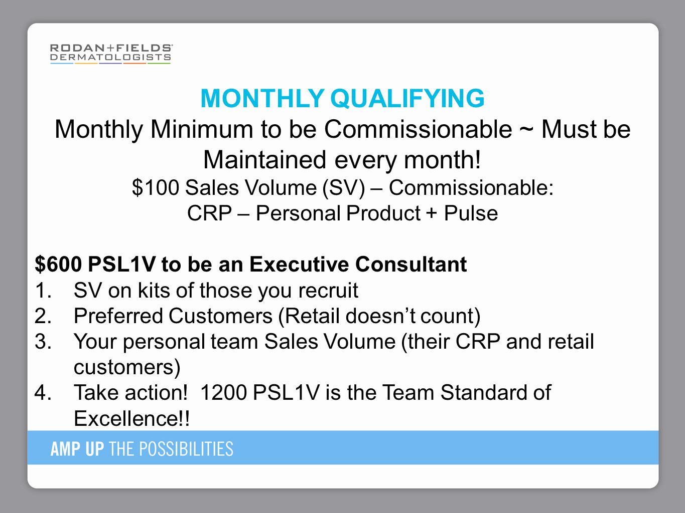 MONTHLY QUALIFYING Monthly Minimum to be Commissionable ~ Must be Maintained every month.