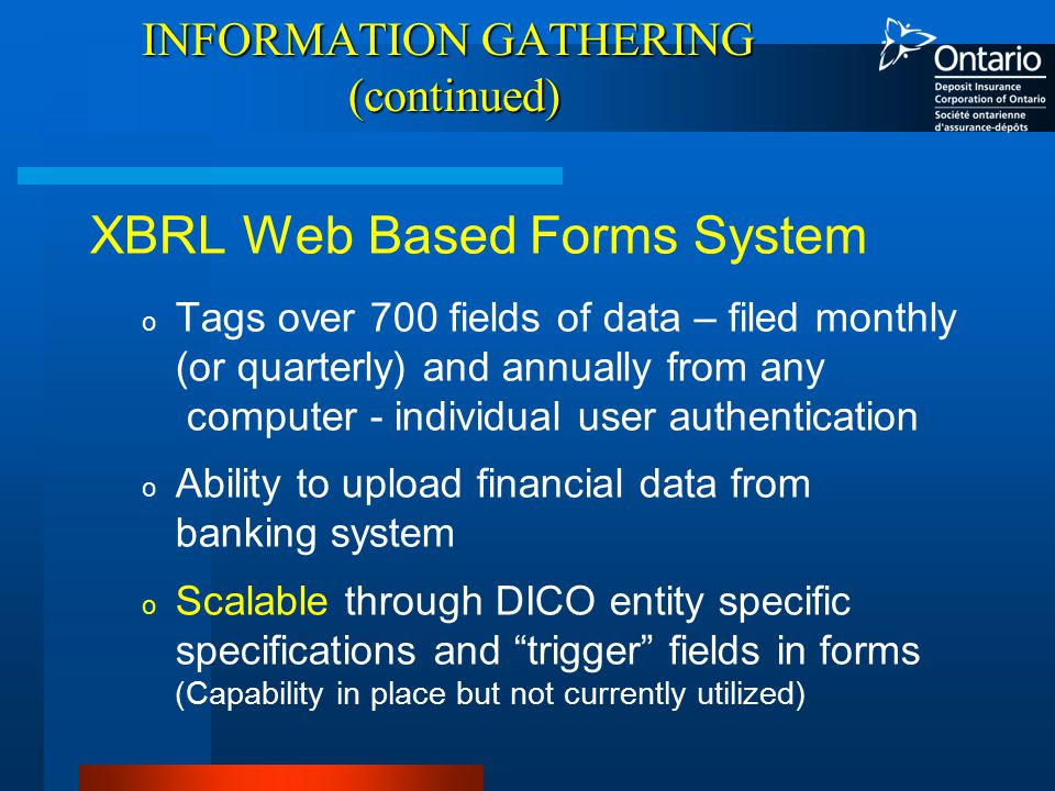 INFORMATION GATHERING (continued) XBRL Web Based Forms System o Tags over 700 fields of data – filed monthly (or quarterly) and annually from any computer - individual user authentication o Ability to upload financial data from banking system o Scalable through DICO entity specific specifications and trigger fields in forms (Capability in place but not currently utilized)