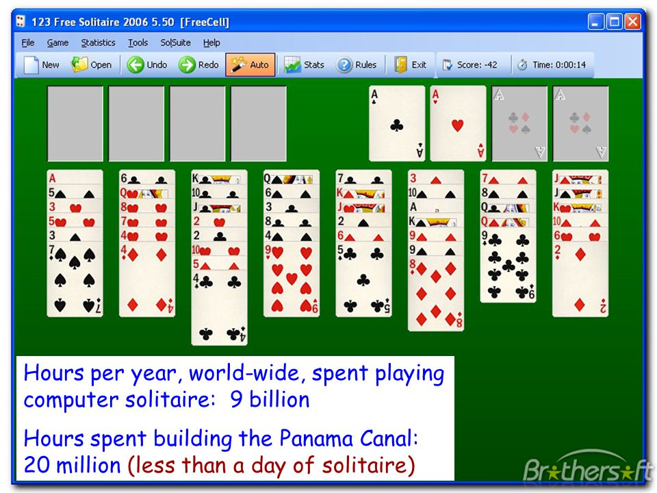 © 2012 Gribble, Lazowska, Levy, Zahorjan 34 Hours per year, world-wide, spent playing computer solitaire: 9 billion Hours spent building the Panama Ca