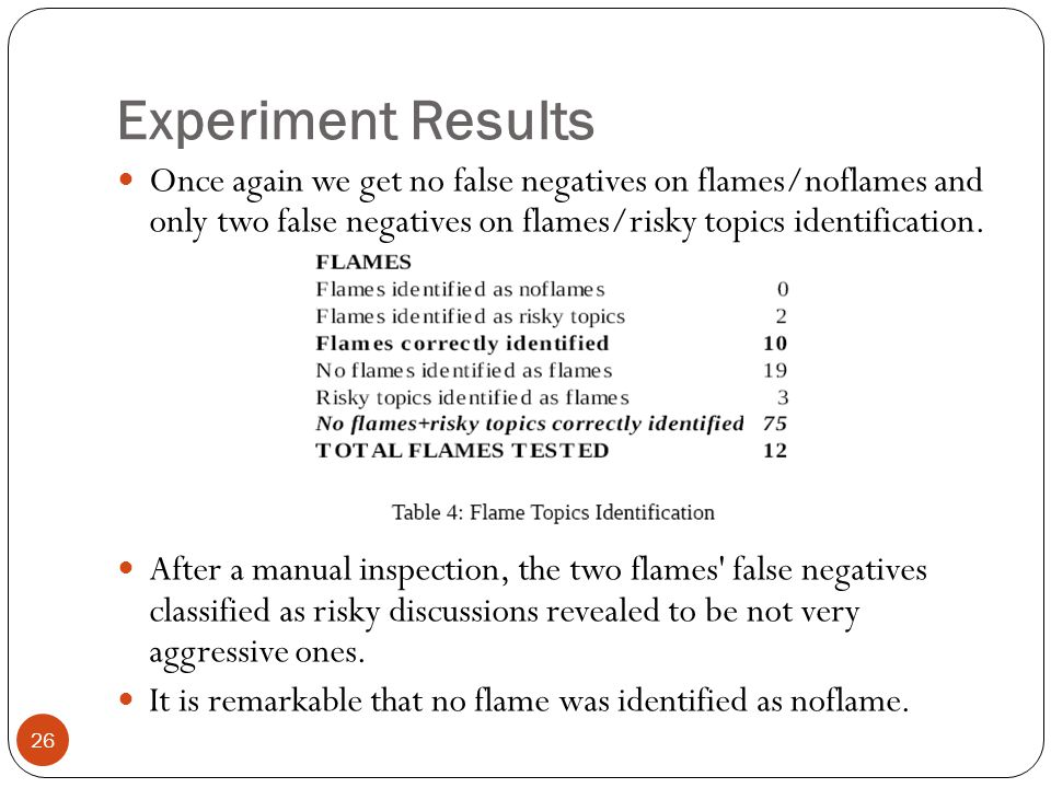 Experiment Results 26 Once again we get no false negatives on flames/noflames and only two false negatives on flames/risky topics identification.