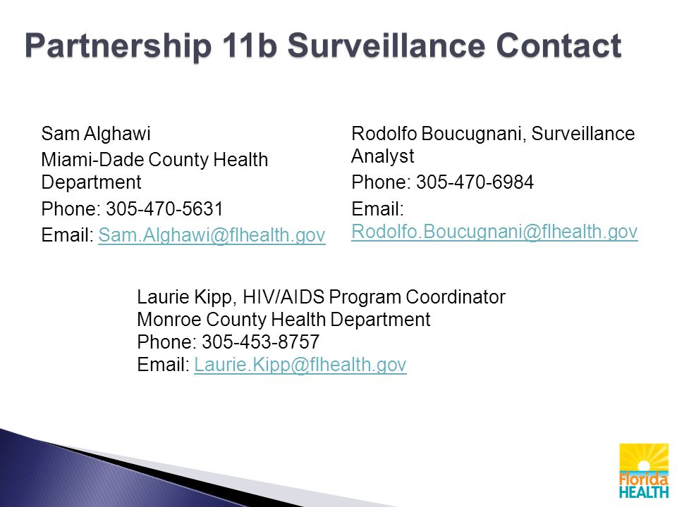 Partnership 11b Surveillance Contact Sam Alghawi Miami-Dade County Health Department Phone: 305-470-5631 Email: Sam.Alghawi@flhealth.govSam.Alghawi@flhealth.gov Rodolfo Boucugnani, Surveillance Analyst Phone: 305-470-6984 Email: Rodolfo.Boucugnani@flhealth.gov Rodolfo.Boucugnani@flhealth.gov Laurie Kipp, HIV/AIDS Program Coordinator Monroe County Health Department Phone: 305-453-8757 Email: Laurie.Kipp@flhealth.govLaurie.Kipp@flhealth.gov