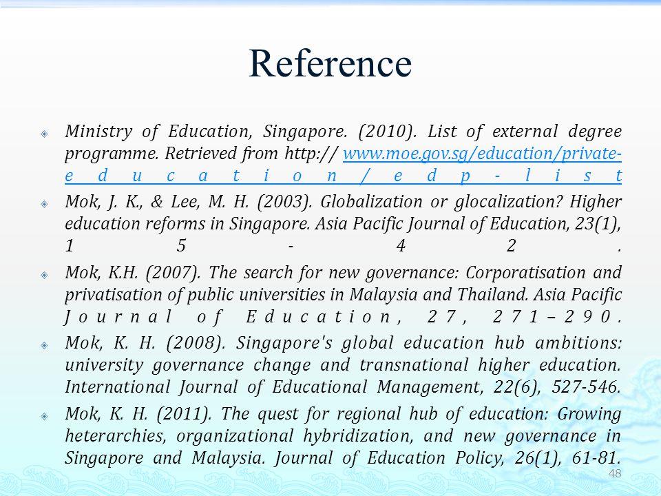 Reference  Mok, K.H., & Yu, K. M. (2011).