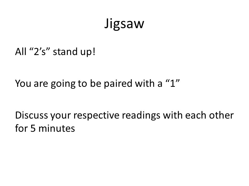 Jigsaw All 2's stand up.