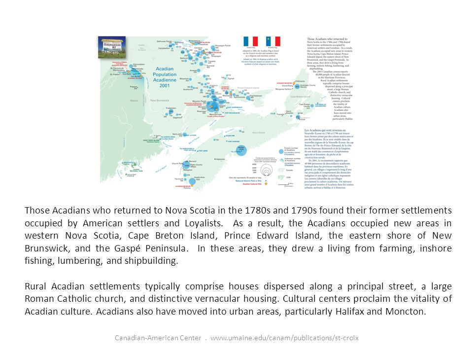 Those Acadians who returned to Nova Scotia in the 1780s and 1790s found their former settlements occupied by American settlers and Loyalists.