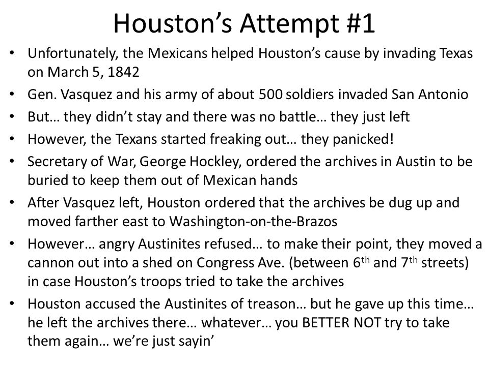 """""""We did heare that you was goin to move the seat of government… you swore you would do it, and then when you come to Austin and found out the boys wou"""