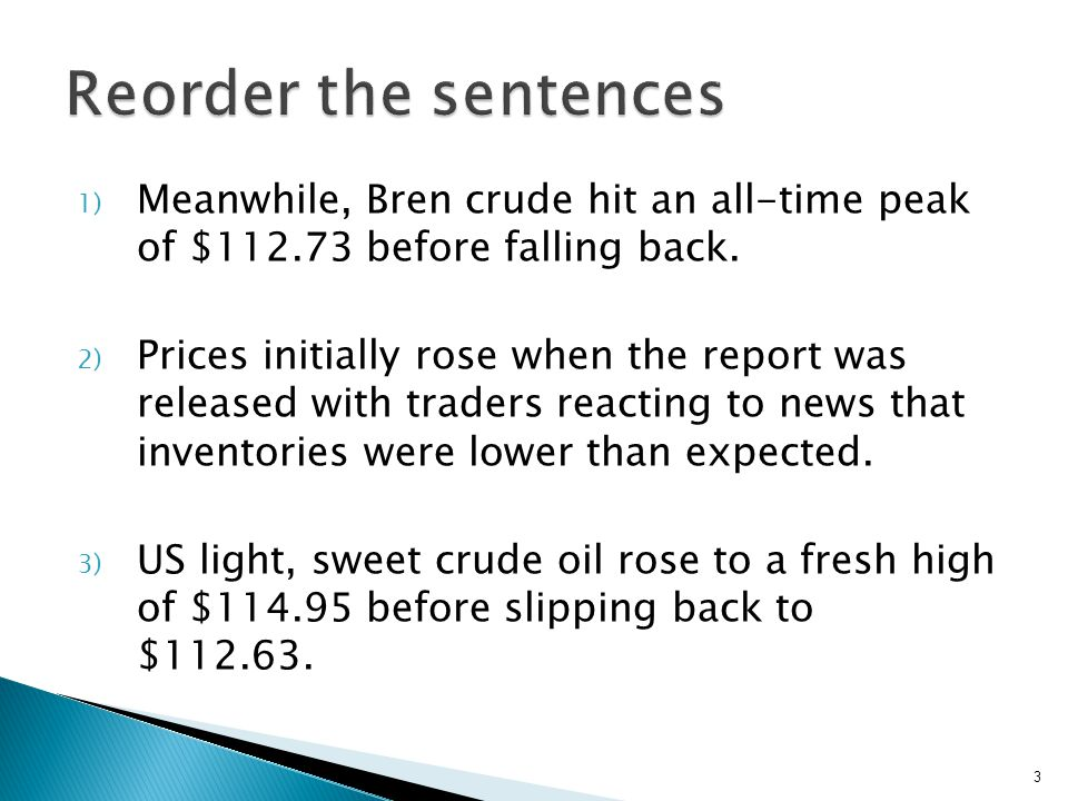  US light, sweet crude oil rose to a fresh high of $114.95 before slipping back to $112.63.