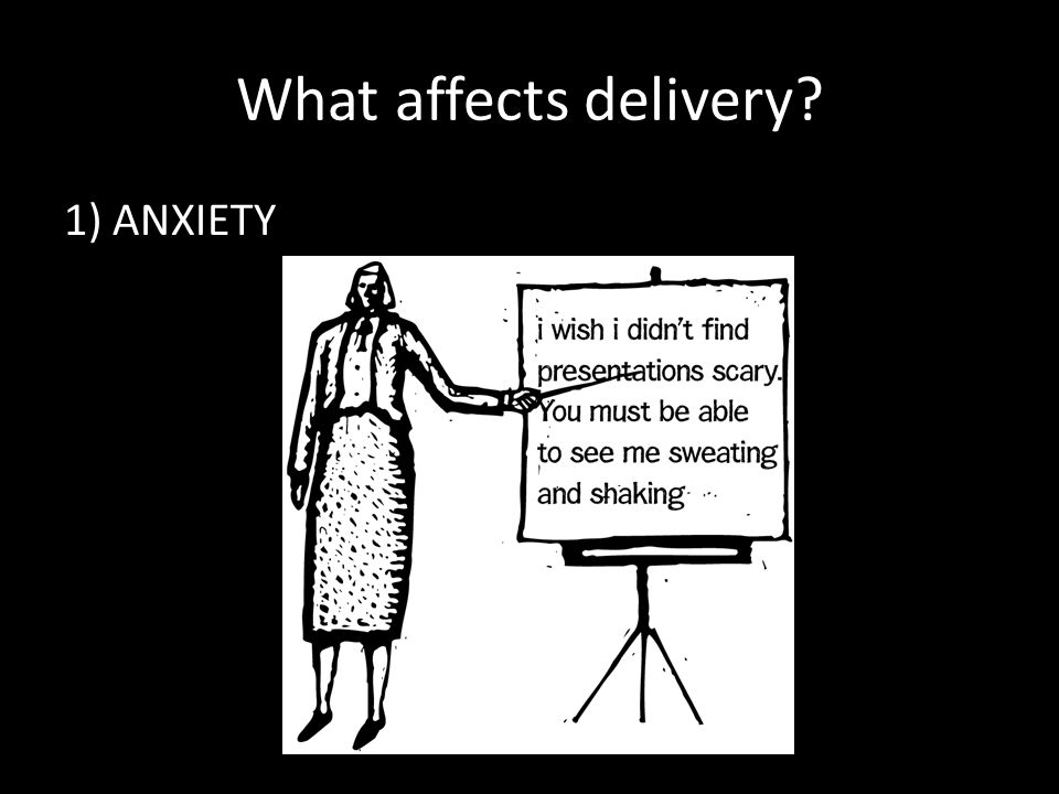 What affects delivery 1) ANXIETY
