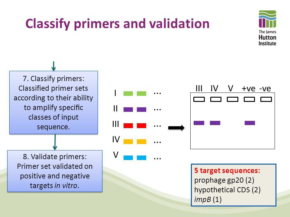 Classify primers and validation III II IV V I... IIIIVV+ve-ve 7.