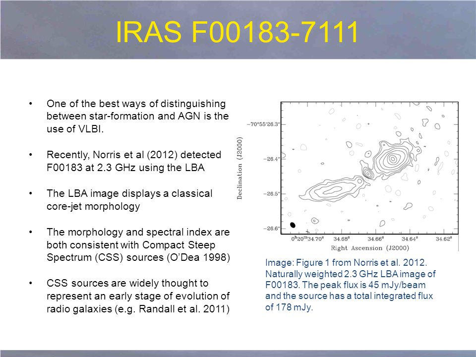 IRAS F00183-7111 One of the best ways of distinguishing between star-formation and AGN is the use of VLBI.