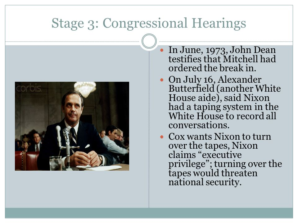 Stage 3: Congressional Hearings In June, 1973, John Dean testifies that Mitchell had ordered the break in. On July 16, Alexander Butterfield (another