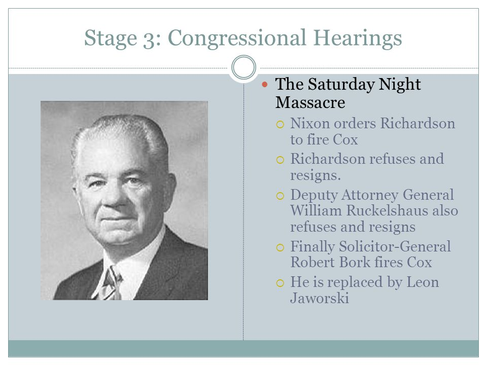 Stage 3: Congressional Hearings The Saturday Night Massacre  Nixon orders Richardson to fire Cox  Richardson refuses and resigns.  Deputy Attorney
