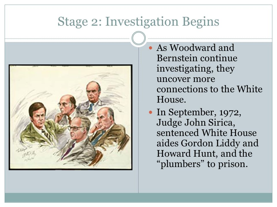 Stage 2: Investigation Begins As Woodward and Bernstein continue investigating, they uncover more connections to the White House. In September, 1972,