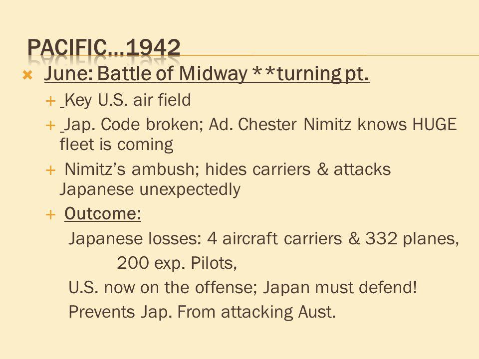  June: Battle of Midway **turning pt.  Key U.S.
