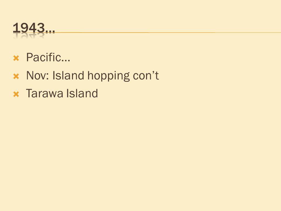  Pacific…  Nov: Island hopping con't  Tarawa Island