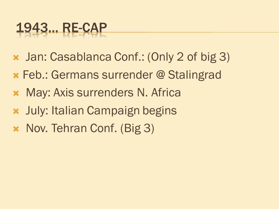 Jan: Casablanca Conf.: (Only 2 of big 3)  Feb.: Germans surrender @ Stalingrad  May: Axis surrenders N. Africa  July: Italian Campaign begins  N