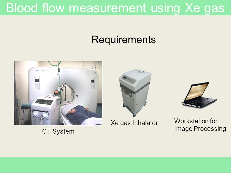 Blood flow measurement using Xe gas Inhale 30% Xe for 4 min.