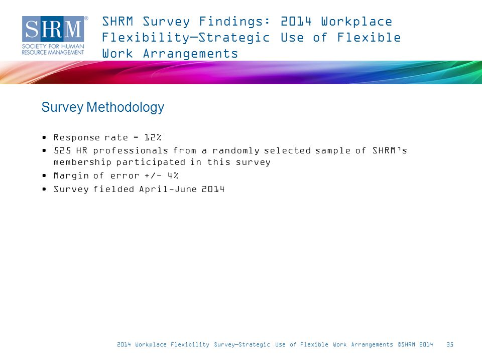35 Response rate = 12% 525 HR professionals from a randomly selected sample of SHRM's membership participated in this survey Margin of error +/- 4% Survey fielded April-June 2014 Survey Methodology SHRM Survey Findings: 2014 Workplace Flexibility—Strategic Use of Flexible Work Arrangements 2014 Workplace Flexibility Survey—Strategic Use of Flexible Work Arrangements ©SHRM 2014